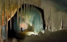 Ice formations inside Eisriesenwelt Icehöhle, Werfen (South Salzburg)